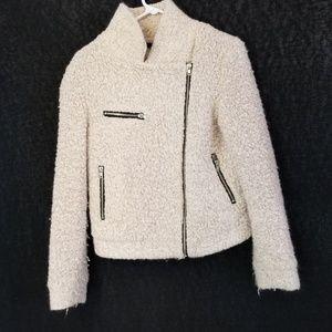 Forever 21 Oatmeal Full Zip  Wool Blend Jacket Sz